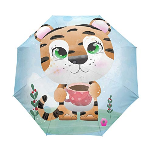 Tigre Bebé Gracioso Lindo Paraguas Plegables niña niño Automático Resistencia Viento Paraguas Impermeable de Viaje