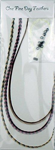 Extensions de cheveux avec plumes + Lot de 3 anneaux/Boucle