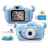 """Kinder Kamera, 2.0""""Display 1080P 20MP GREPRO Digitalkamera für 4 5 6 8 7 9 10 Jahre alt mädchen und jungen, Anti-Drop Fotoapparat Kinder für Geburtstagsspielzeug Geschenke mit Weiche Silikonhülle Blau"""