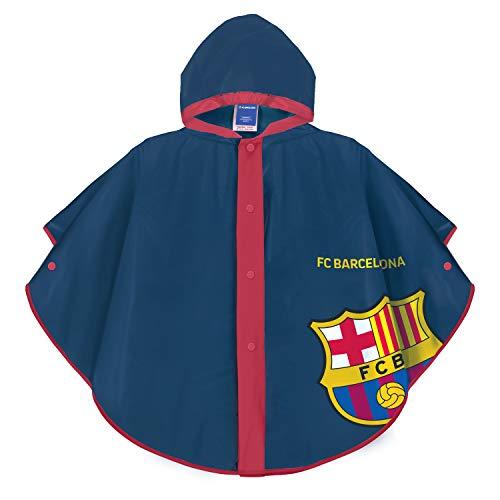 PERLETTI Regenponcho Wasserdicht für Kinder FC Barcelona - Regenmantel Blau und Rot für Kleine Jungen mit Barça Logo - FCB Regen Jacke aus PVC mit Kapuze und Knöpfe (7/9 Jahren)