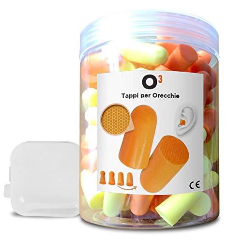 Tapones para los oídos para dormir - No tóxico - Espuma - 35.5 dB | Incluye botella y funda - Dos colores: naranja y amarillo | 60 pares