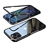 Singularity Products iPhone 12/12 Pro Case Magnetic Adsorption Case Aluminum Alloy Bumper Frame Compatible with iPhone 12/12 Pro(Black)