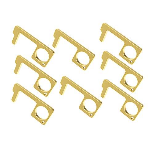 8 PCS EDC Door Opener, Door Handle The Contactless Button Tool,The Elevator Button Open, Simple Hand Brass Door Opener & Stylus Environmental Protection Stylus Keychain Tool(Gold)