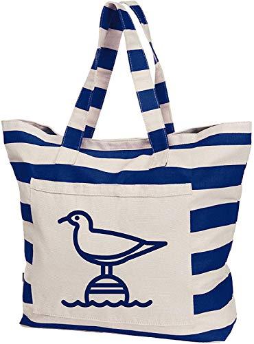 Livingstyle & Wanddesign Maritime Streifen-Strandtasche, 50 L, Navy-weiß, Möwe