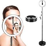 Anillo de luz LED Soporte de trípode portátil Plegable RingLight de Maquillaje de 10 Pulgadas para Video de Youtube, Estudio, Maquillaje, Regulable 3 Modos de luz 11 Nivel de Brillo (Enchufe USB)