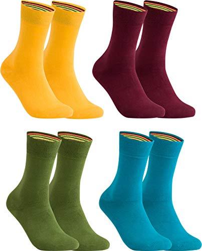 gigando – Socken Herren Baumwolle Uni Farben 4er oder 8er Pack in Premiumqualität – bunt farbige Strümpfe für Anzug, Business, Freizeit – ohne Naht - in bordeaux, gelb, olive, petrol Größe 35-38