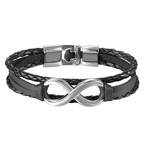 OIDEA Herren Damen Infinity Leder Armband, Unendlichkeit Symbol Manschette Kordelkette geflochtenes Lederband Legierung Armreifen, Silber schwarz