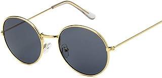 QWKLNRA - Gafas De Sol para Hombre Montura De Color Dorado Retro Lente Negra Gafas De Sol Redondas contra-UV Portátiles Retro Mujer Gafas De Sol para Mujer/Hombre Aleación Espejo Ciclismo Viajes P