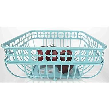Home Basics Trinity Fruit Basket Square, Turquoise