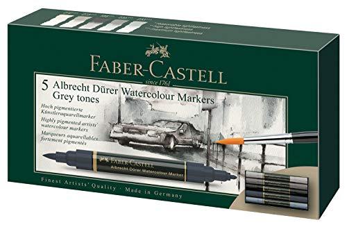Faber-Castell 160306 Aquarellmarker Albrecht Dürer mit Doppelspitze für flächigen und präzisen Farbauftrag, 5er Etui, Grautöne