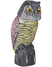 Relaxdays, meerkleurige vogelverschrikker, uil, met wiebelkop, staand decoratief figuur, duivenverschrikking voor tuin, balkon, terras, 1 stuk