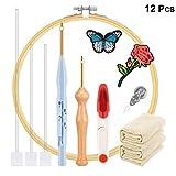Artibetter 1 Set Kit de Inicio de Bordado Costura de Tela Aros de Bordado Tijeras de Aguja Herramientas de Punto de Cruz para Manualidades de Bricolaje Adultos Niños Principiantes (Colores Surtidos)
