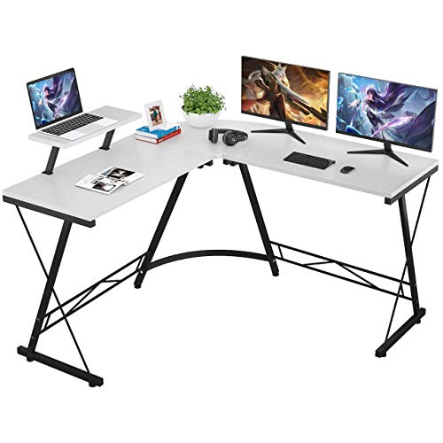 Foxemart L Shaped Gaming Desk 51#039#039 Corner Game Desk Home Office Desks with Large Monitor Stand Computer Desk with Round Corner White