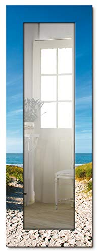 Artland Ganzkörperspiegel Holzrahmen zum Aufhängen Wandspiegel 50x140 cm Design Spiegel Natur Landschaft Strand Meer Küste Dünen Himmel See T9EX