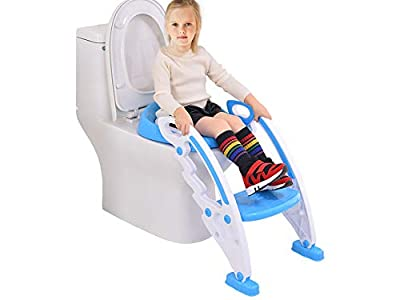 ToysOpoly Potty Toilet Seat Step Stool Ladder   Portable Chair Trainer Kids Handles, Sturdy Safe   Best Age is 1, 2, 3 4 Year Old Boys Girls Toddlers