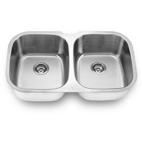 Yosemite Home Decor MAG504 18-Gauge Stainless Steel Undermount Double Bowl Kitchen Sink, Satin