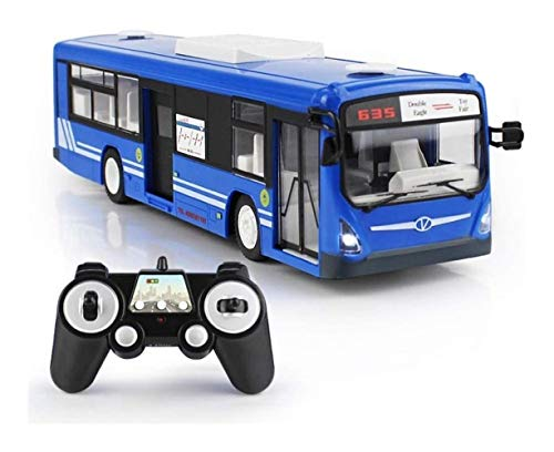 Carro de control remoto Juguete para niños adultos Infantil eléctrico Simulación autobús de coches de juguete, interruptor eléctrico de la puerta con el cuerno LED faros de los coches Juegos de constr