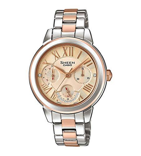 CASIO dames analoog kwarts horloge met roestvrij stalen armband SHE-3059SPG-9AUER