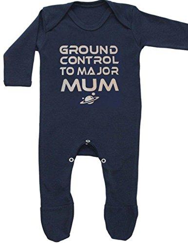 Bodi de bebé inspirado en GROUND CONTROL de David Bowie o ropa de Ziggy Stardust, de la marca Baby Moo's azul azul Talla:3-6 meses