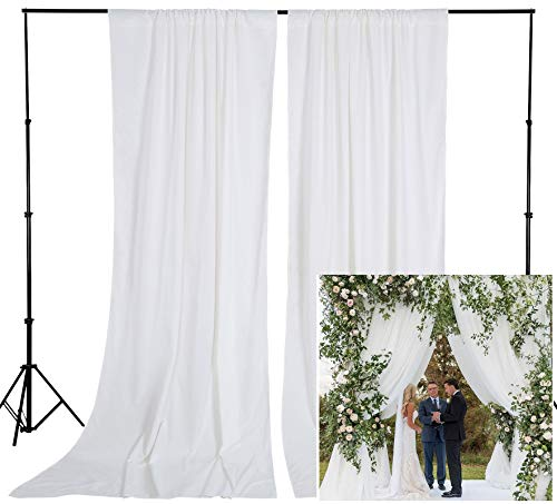 8FTx10FT White Backdrops for Photography Polyester Photo Booth Backdrop for Photoshoot Birthday Engagement Bridal Shower Party Curtains