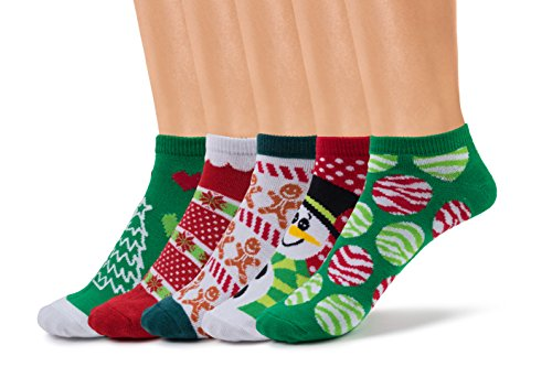 Silky Toes Womens Christmas Low Cut Socks in Optional Box, Casual No Show Socks (9-11, Holiday- Red (5 Pairs per Box))