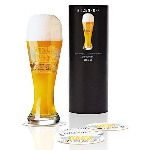 RITZENHOFF tarwe bierglas van Alice Wilson, van kristalglas, 500 ml, met vijf bierdeksels