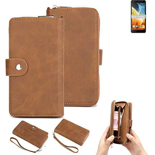K-S-Trade Handy-Schutz-Hülle Für Energizer Power Max P490S Portemonnee Tasche Wallet-Hülle Bookstyle-Etui Braun (1x)