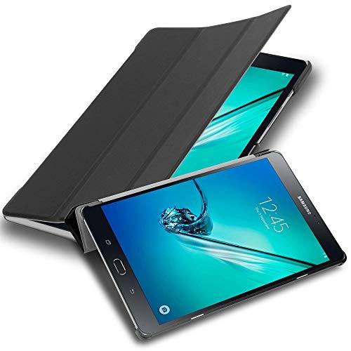 Cadorabo Funda Tableta para Samsung Galaxy Tab S2 (8.0' Zoll) SM-T715N / T719N in Negro SATÉN – Cubierta Proteccíon Bien Fina en Cuero Artificial en Estilo Libro con Auto Wake Up e Función de Suporte