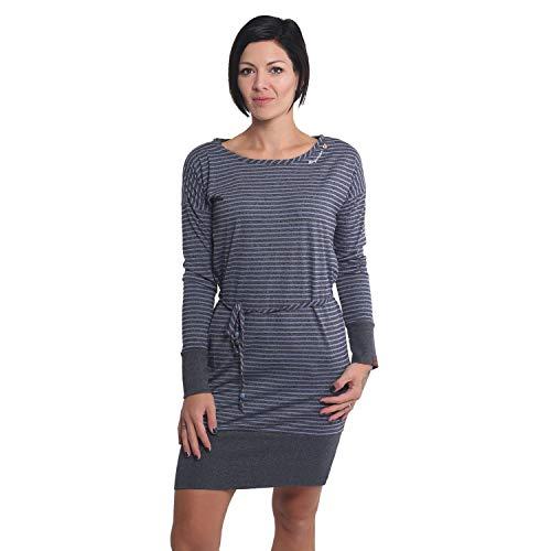 Ragwear Soham damska sukienka z dżerseju, sukienka koszulowa, z długim rękawem, wegańska