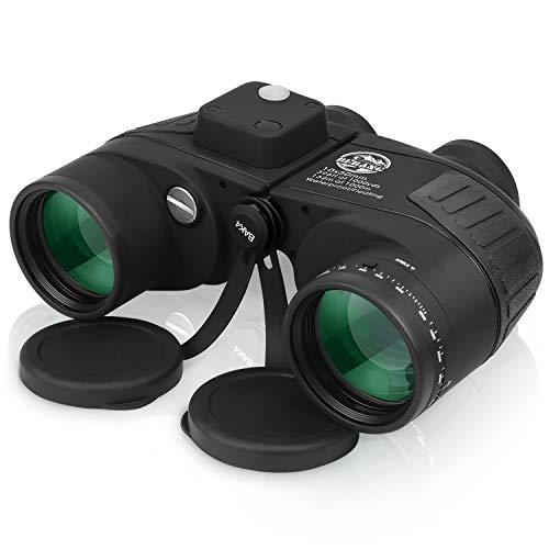 Fernglas mit Entfernungsmesser 10x50 IPX7 Wasserdicht BAK4 FMC Zoom für Jagd Astronomie Safari Wandern Marine Reise Feldstecher mit Tasche und Gurt Schwarz