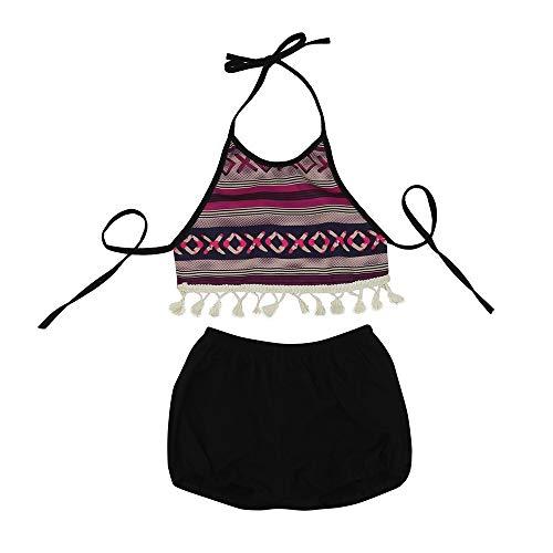 LABIUO Baby Kleidung,Säuglings Mädchen Kleidung Gestreiftes Quaste Tops+Kurze Hose Kinderanzug Kleidungssatz(Schwarz,24M)