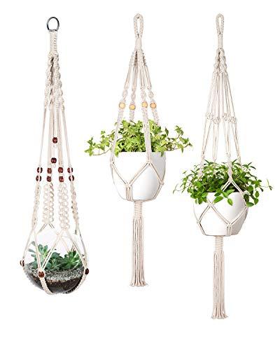Mkouo Macramé Appendini per Piante Set of 3 Indoor Cesto per fioriera a Parete Flower Pot Holder Boho Home Decor Pacco Regalo