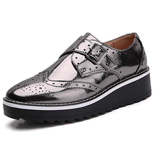 Women's Leather Wingtips Platform Oxford Monk Shoes MP6.5