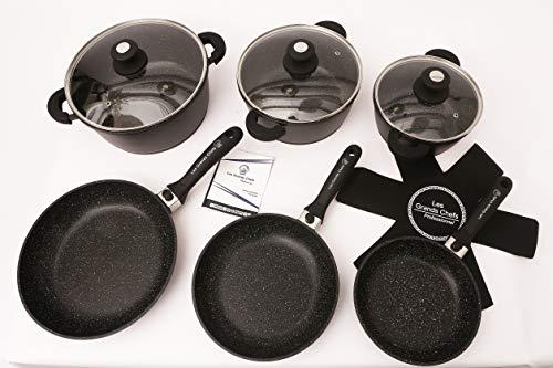 Les Grands Chefs Professionnel - Batterie De Cuisine 18 Pièces - 3 Poêles - 3 Marmites faitout - Poignée Amovible - Tous Feux Dont Induction - Revêtement Effet Pierre
