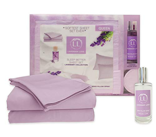 Signature Hotel Collection Lavender Love - Super Soft Sheet Set and Sleep Experience Lavender Pillow Spray with a Matching Satin Eye mask Sleep Set (Queen, Lavender)