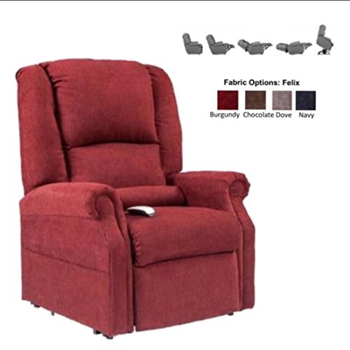 NM-101 (Burgundy) Mega Motion Juno Ultimate Power Recliner and Lay Flat Chaise Lounger with Infinite-Position. Free Curbside Delivery.