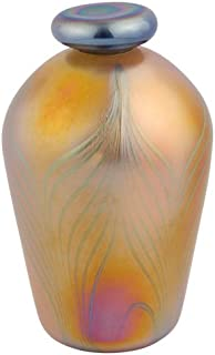 Silverlight Urns Lumos Gold Hand Blown Glass Keepsake Urn, Small Mini Urn for Ashes, 5.25 Inches Tall