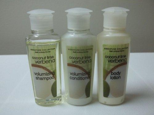Bath & Body Works Coconut Lime Verbena Travel Set with Volumnizing Shampoo, Volumnizing Conditioner, and Body Lotion (1oz each)