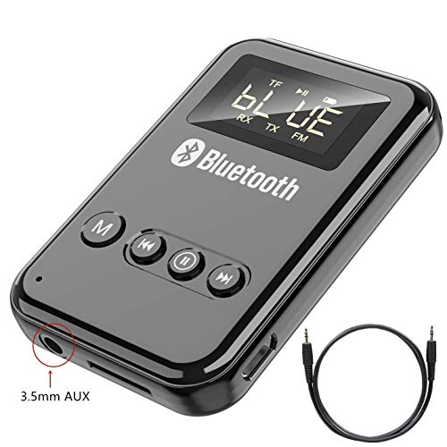 Bluetooth 5.0 Transmitter and Receiver, FM Transmitter for Car, TF Card Playback and Transmitting, LED Digital Display 5 Model in 1 Low Latency Wireless Bluetooth 3.5mm Audio Receivers Adapters