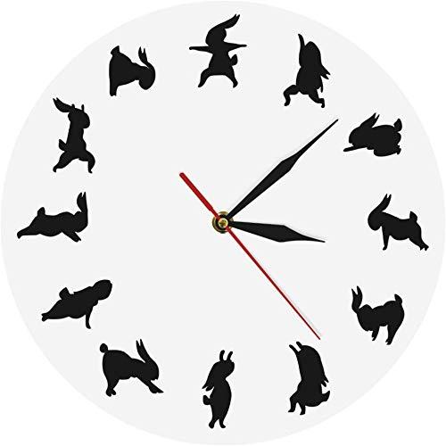 Reloj De Pared Reloj De Pared Charm Yoga Rabbit Reloj Icónico Moderno Animal Bunny Reloj De Pared Regalo Para Amantes Del Yoga Silueta Flexible De Niña Fitness Reloj Deportivo Adecuado Para Sala De Es