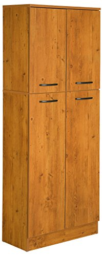South Shore, Country Pine 4-Door Storage Pantry with Adjustable Shelves