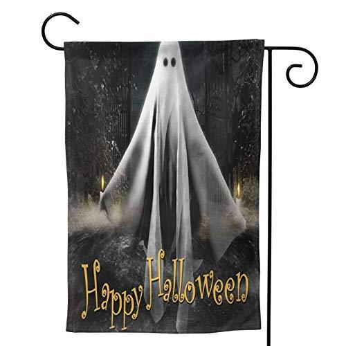 OMNVEQ Bandiera da Giardino Fantasma in bilico sotto la Luna Piena Banner in Poliestere Doppia Faccia per La Decorazione del Cortile Interno All'Aperto 48 X 32 Cm