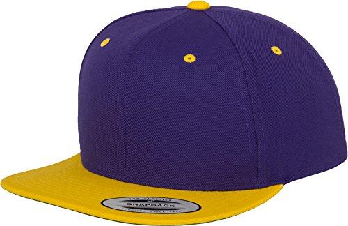 Flexfit Mütze Classic Snapback 2-tone - Gorro, unisex, Multicolor (Pur/Gold), Talla única