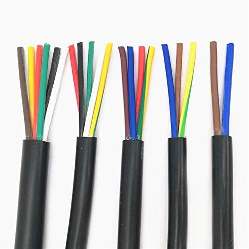 Leloo Lcuihong-Alambre de Cobre 20 AWG 0,5 mm2 RVV 2/3/4/6/6/7/8/10/12/17/16/18/14/16/18 Pines de núcleos, Alambre de Cobre, Conductor Electric RVV Cable Negro Suave y Fuerte
