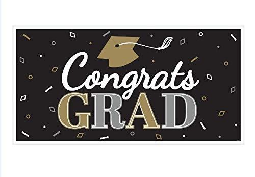 'Congrats Grad' Graduation Banner - Large Plastic Horizontal Banner, 65 x 33 Inches