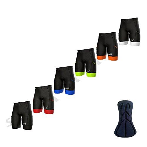 Sparx Men's Active Triathlon Short Tri Cycling Short Swim Bike Run (Black/White, XL)