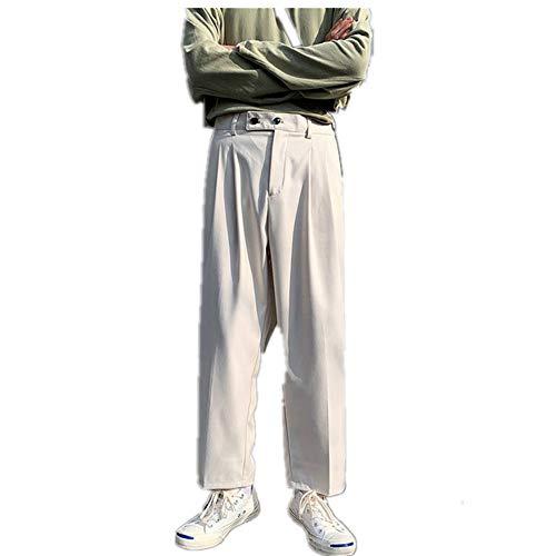 N\P Pantalones retro de pierna recta, pantalones casuales para hombre, tendencia de jogging sueltos de pierna ancha