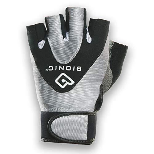Bionic Women's StableGrip 1/2 Finger Fitness Gloves w/ NaturalFit Technology, Black (PAIR), Large, Black/Silver