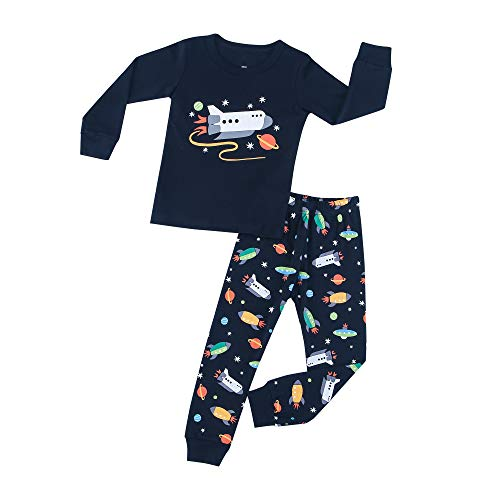 HIKIDS Jungen Schlafanzug Weltraumrakete Langarm Zweiteilige Space Shuttle Pyjama Sets Kinder Raumfahrzeug Nachtwäsche 130/7 Years