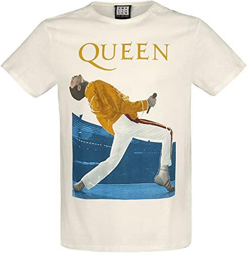 Queen Amplified Collection - Freddie Mercury Triangle Hombre Camiseta Blanco Roto XL